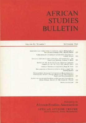 African Studies Bulletin Index Volume XI, Number 2, September 1968