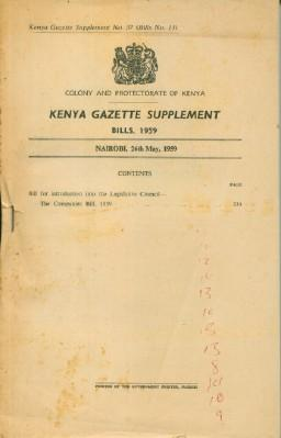 Kenya Gazette Supplement No. 37 Bills 1959