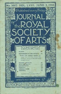Journal of the Royal Society of Arts, Friday, June 3, 1910, No. 3002, Vol. LVIII