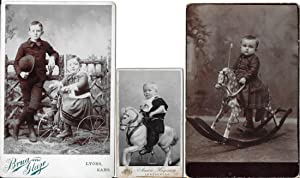 3 Antique Photograph of Rocking Horses & Tricycle