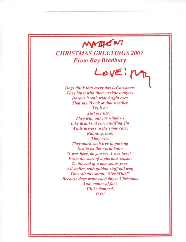 Christmas Greetings 2007 From Ray Bradbury Bradbury, Ray