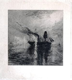 (Etching ) Wilkie's Burial at Sea After Turner