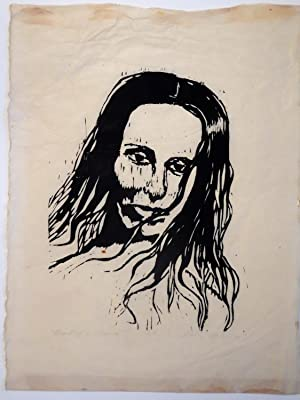 ( Original Woodcut Print on Rice Paper ) Head of a Woman