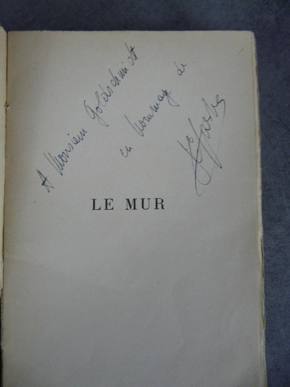 Dédicace_de_Jean_Paul_Sartre_sur_Le_mur_exemplaire_du_service_de_presse_1939_Rare_et_précieux_Sartre_Jean_Paul_Bon_Couverture_souple