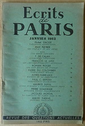 Ecrits de Paris. Revue des Questions Actuelles, N°87 janvier 1952.: Dacier, Fabre-Luce, Thérive, Le...
