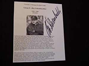 SIGNED PHOTO-BIOGRAPHY SHEET: Schembechler, Bo