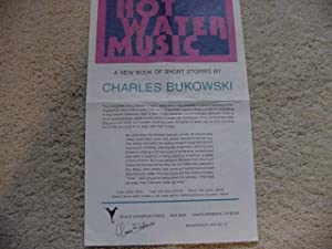 Hot Water Music (Broadside Flyer # 10): Bukowski, Charles