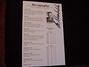 SIGNED BIOGRAPHY SHEET: Schembechler, Bo