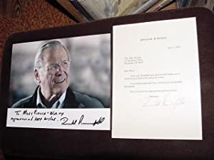SIGNED PHOTO & LETTER: Rumsfeld, Donald