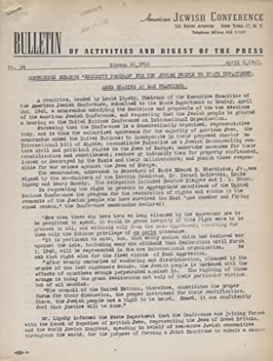 AMERICAN JEWISH CONFERENCE: BULLETIN OF ACTIVITIES AND DIGEST OF THE PRESS: NO. 56: American Jewish...