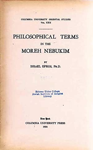 PHILOSOPHICAL TERMS IN THE MOREH NEBUKIM: Efros, Israel and Louis Ginzberg