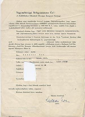 NAGYMÉLTÓSÁGÚ BELÜGYMINISZTER ÚR ! : APPLICATION BY EVA ...