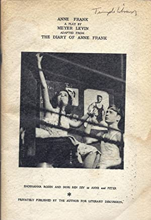 ANNE FRANK: A PLAY: Levin, Meyer; Anne Frank
