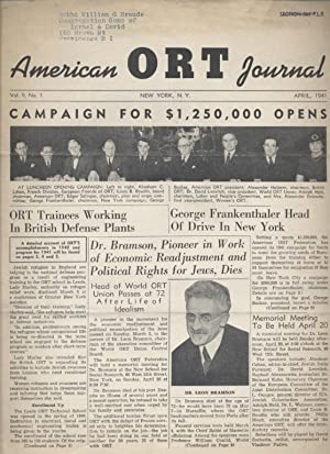 AMERICAN ORT JOURNAL; VOLUME 9 [NUMBER 1]: American Ort Federation