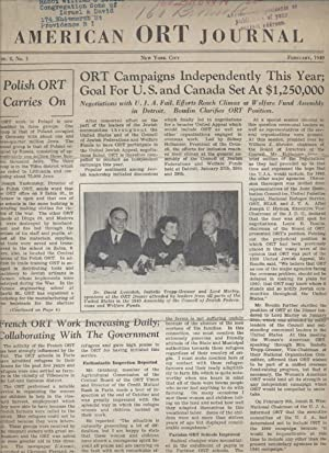 AMERICAN ORT JOURNAL; VOLUME 8, [NUMBERS 1-3]: American Ort Federation