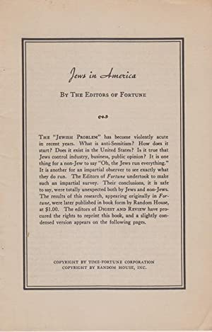 JEWS IN AMERICA: Macleish, Archibald]; Fortune