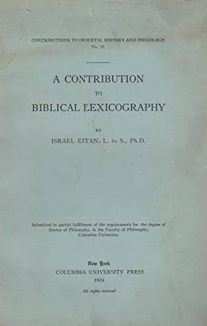 A CONTRIBUTION TO BIBLICAL LEXICOGRAPHY: Eitan, Israel.