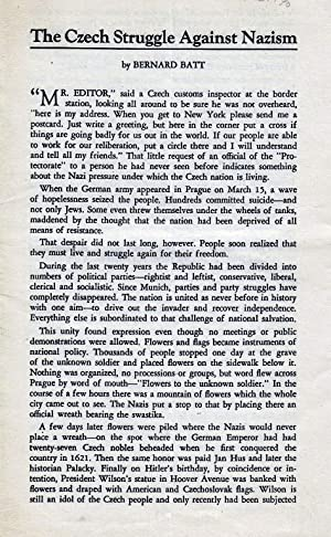 THE CZECH STRUGGLE AGAINST NAZISM. (AMERICAN FRIENDS OF CZECHOSLOVAKIA PAMPHLET NUMER 4): Batt, ...