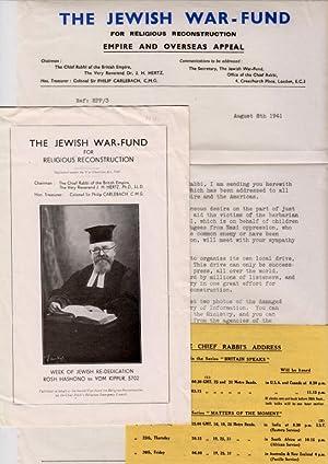 THE JEWISH WAR-FUND FOR RELIGIOUS RECONSTRUCTION: Hertz, J. H. , Chief Rabbi
