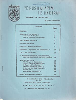 YERUSHALAYIM IR HABIRAH = JERUSALEM THE CAPITAL CITY: Greenstein, Joseph