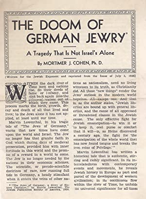 THE DOOM OF GERMAN JEWRY: A TRAGEDY THAT IS NOT ISRAEL'S ALONE: Cohen, Mortimer Joseph
