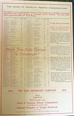 FUNDRAISING POSTER AND LETTER] 1919 WISE CENTENARY - UNION OF AMERICAN HEBREW CONGREGATIONS: Union ...