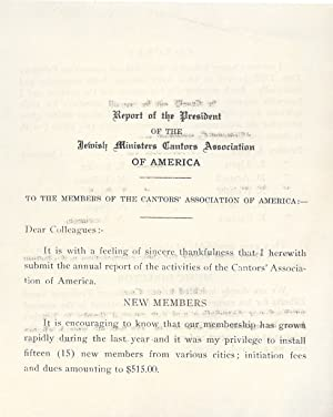 REPORT OF THE PRESIDENT OF THE JEWISH MINISTERS CANTORS ASSOCIATION OF AMERICA: Jacob Schwartz]