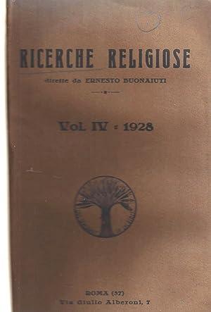 RICERCHE RELIGIOSE VOL. IV: Xt) [Catholic Antifascism] [Ernesto Buonaiuti]