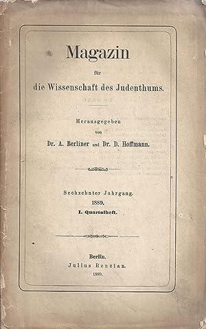 MAGAZIN FÜR DIE WISSENSCHAFT DES JUDENTHUMS. VOLS 16 (PARTS 1-4) AND 17 (PARTS 1-4) , COMPLETE FOR ...