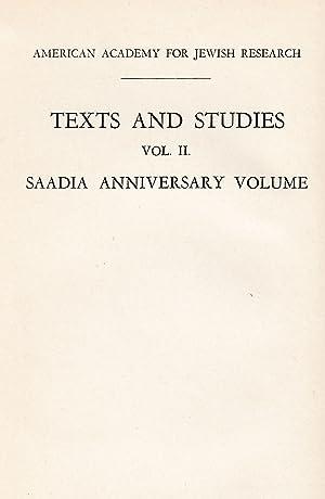 SAADIA ANNIVERSARY VOLUME: Xt) Cohen, Boaz
