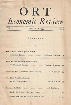ORT ECONOMIC REVIEW. Vol V, Nr 2. Dec, 1945 (only).: American ORT Federation.