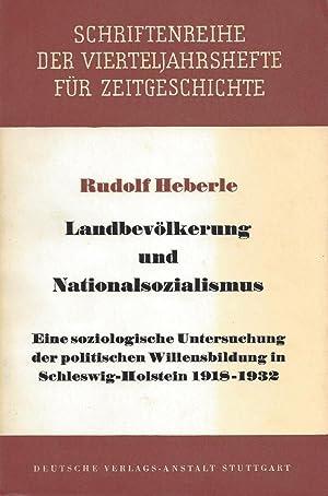 LANDBEVÖLKERUNG UND NATIONALSOZIALISMUS. EINE SOZIOLOGISCHE UNTERSUCHUNG DER POLITISCHEN ...