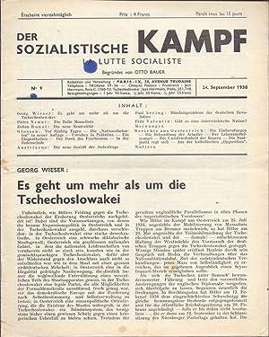 DER SOZIALISTISCHE KAMPF. LA LUTTE SOCIALISTE. NO 9. 24. SEPTEMBER 1938.: Bauer, Otto. editor.
