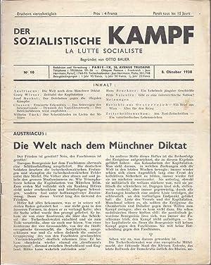 DER SOZIALISTISCHE KAMPF. LA LUTTE SOCIALISTE. NO 10. 8. OKTOBER 1938.: Bauer, Otto. editor.