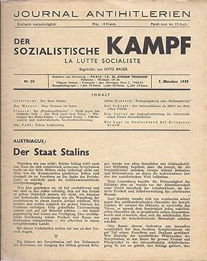 DER SOZIALISTISCHE KAMPF. LA LUTTE SOCIALISTE (JOURNAL ANTIHITLERIEN) . NO 20. 7. OKTOBER 1939.: ...