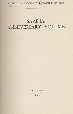 SAADIA ANNIVERSARY VOLUME.: Cohen, Boaz.
