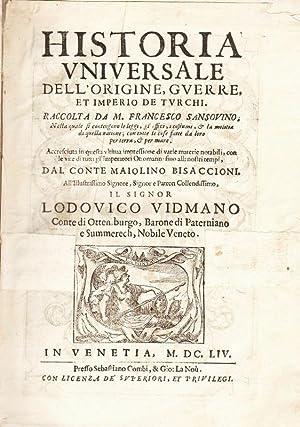Historia universale dell'origine, guerre et Imperio de: SANSOVINO M. Francesco.
