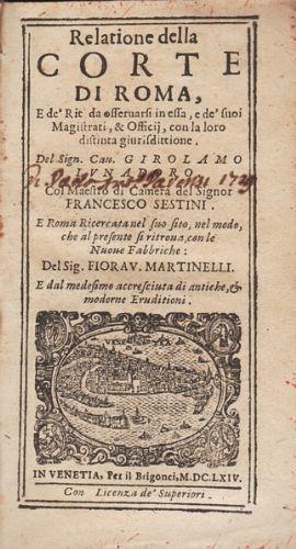 Relatione della Corte di Roma, e de': LUNADORO Girolamo.