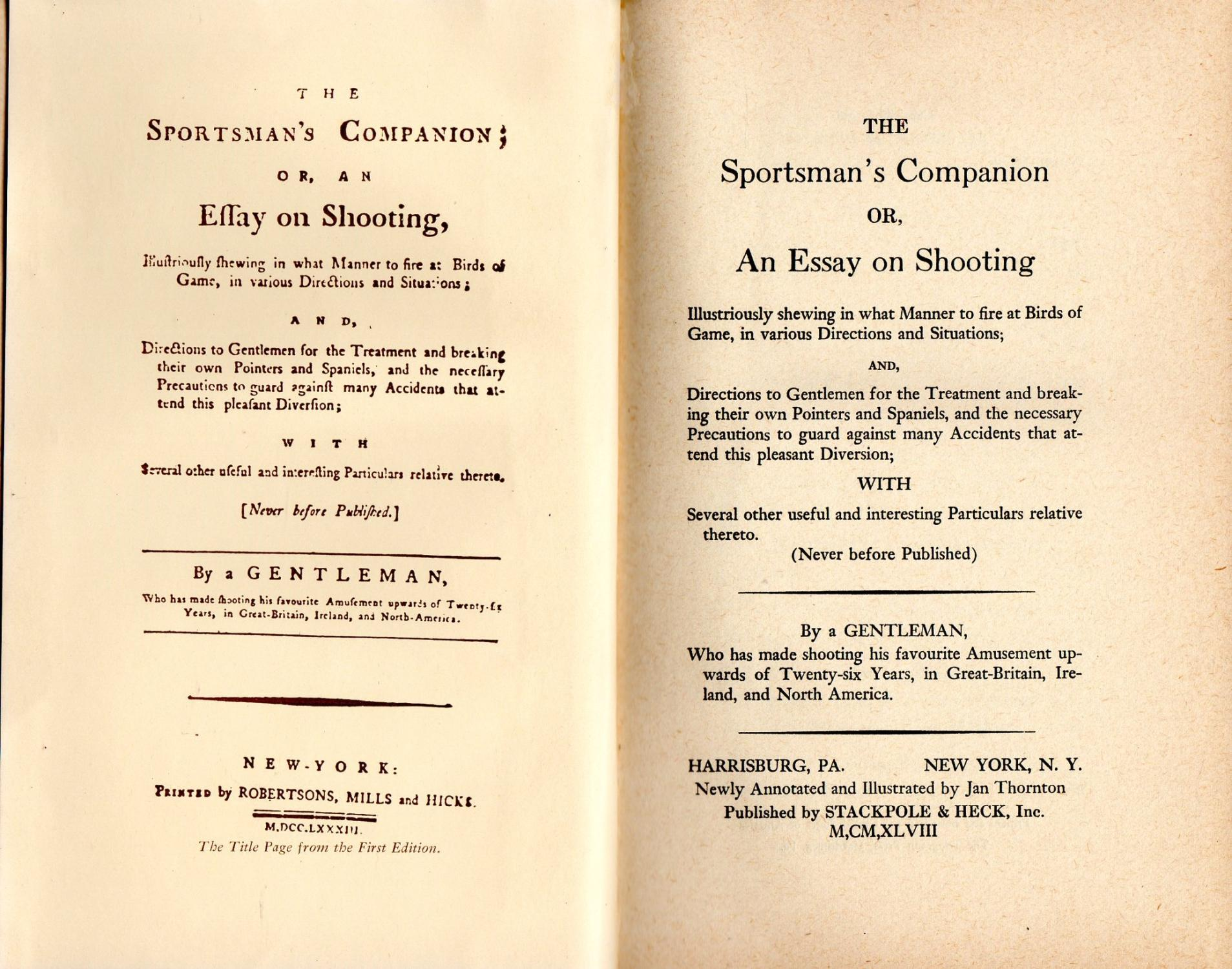 Small Essays In English  The Sportsmans Companion Or An Essay On Shooting By A Gentleman  A Level English Essay also How To Write Proposal Essay The Sportsmans Companion Or An Essay On Shooting By By A Gentleman  How To Start A Proposal Essay