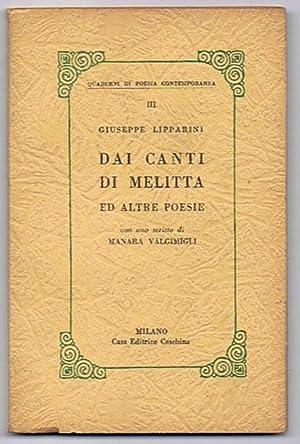 Dai canti di Melitta ed altre poesie: Lipparini Giuseppe