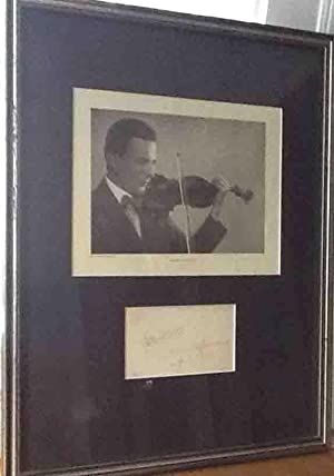 Autograph Musical Quotation Signed Matted and Framed with Portrait. 1921.: SPALDING, Albert