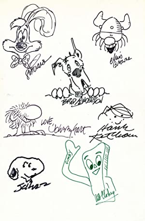 Signed Original Cartoon Sketches by various artists on one 4to white board