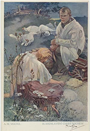 """Blessed Are the Poor Spirit."""" Signed Color: MUCHA, ALFONS"""