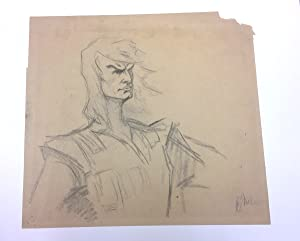 Original Drawing Signed in exceptionally large format, charcoal sketch of a generic hero, archiva...