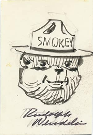Original pen and ink Signed Drawing, showing the smiling face of Smokey the Bear, on a card measu...