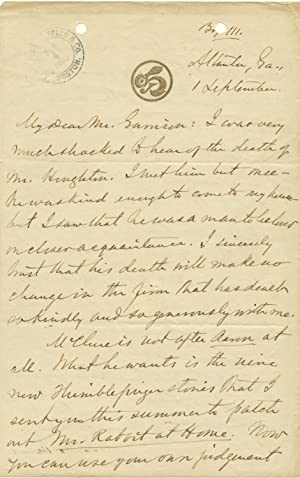 Substantive Autograph Letter about publishing Signed, 2pp on one 8vo sheet, on first and fourth p...