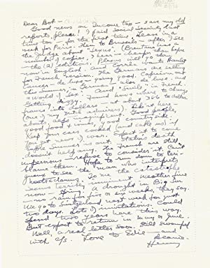 Substantial Autograph Letter Signed, 8vo, on verso of ALS by wife Eve McClure, Vienne, France, Ma...