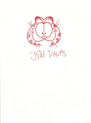 Garfield Original Signed Sketch drawn on a 5 x 8 inch card