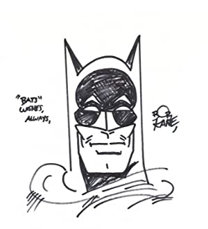 Original sketch of Batman's masked face on card stock measuring 8 x 8 3/4 inches, signed