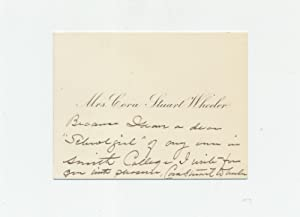 Autograph Note Signed on Visiting Card, n.p., n.d.